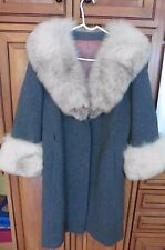 Vintage Stevens Hockanum Topaz wool Full Length Ladies fox Fur Collar Coat L-XL