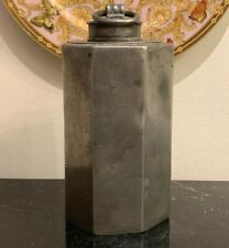 Exceptional Antique Octagonal Screw Top Lidded Pewter Canister