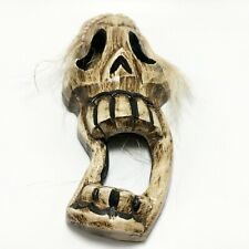 Skull Skeleton Wooden Mask with White Hair Wall Art Hanging Weird Scary Funny