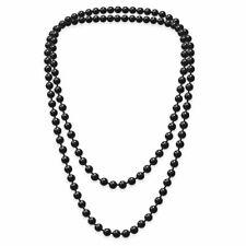 1 hübsche Perlenkette Perlen Kette schwarz weiß einfarbig Damen Halskette