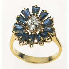 14K Gold Ring with Clusters of Diamonds and Blue Sapphires - Ring Size: 7.5