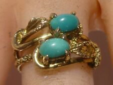 Ladies Ring 14k Yellow Nugget Snake Gold With 2 Turquoise Stones Vintage Estate