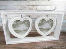 "Twin floating hearts white photo frame 4"" x 4"" LP24387"