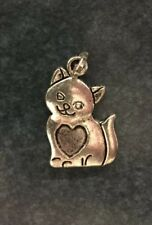 WITH LOOP BALE ADORABLE KITTY CAT HEART SILVER CHARM FOR BRACELET NECKLACE HELLO