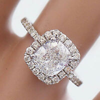 14k solid white gold cushion cut diamond engagement ring halo deco bridal 2.10ct