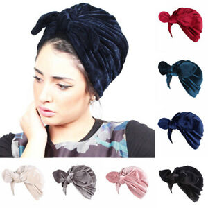 Muslim Women BOW RABBIT EARS Night Sleep Velvet Cap Hat Head Cover TURBAN Wrap