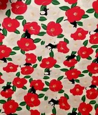Black Kitties on Japanese Cotton w/ Large Flower Blossoms! Garments/Quilts/etc