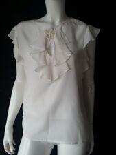 Hallhuber donna top bianco seta con increspature TGL 42 UK14 NUOVO
