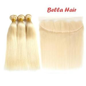 """12A 613 Blonde Brazilian Human Hair 3 Bundles with Frontal 13""""x4"""" Straight"""