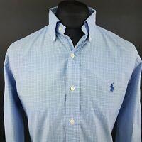 Ralph Lauren Mens Casual Shirt MEDIUM Long Sleeve Blue Classic Fit Check Cotton