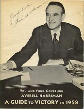 1958 AVERELL HARRIMAN SIGNED CAMPAIGN COVER