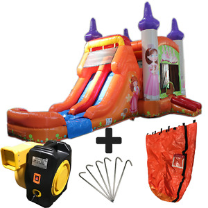 28ft Princess Wet/Dry Commercial Inflatable Bounce House Water Slide Combo