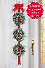 Giant Red Velvet Ribbon Bow w/ Holly Berry Wreaths Christmas Door Decor