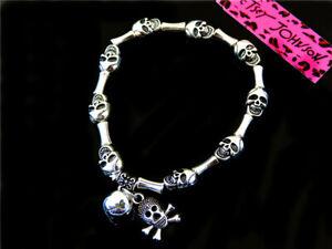 Betsey johnson sexy fashion Silver-plated Skull charm Bracelets
