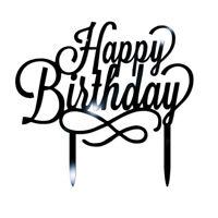 New Happy Birthday Acrylic Glitter Cake Topper Party Decoration Celebration 1pc