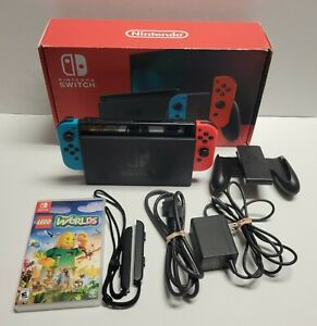 Nintendo Switch Console v2 Bundle with Neon Blue/Red Joycons & Lego Worlds