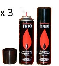 3x Butane Universal Gas Refill Jet Blowtorch Lighter Fuel BBQ 250ML