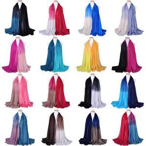 Women Ladies Scarf Gradient Cotton Yarn Muslim Hijab Shawl Long Wrap Scarves