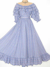 LAURA ASHLEY VINTAGE PERIWINKLE ROSEBUD SOUTHERN BELLE FRILLED PERIOD GOWN, 12