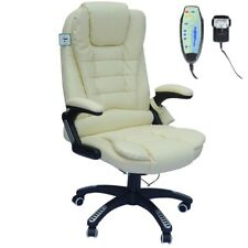 Executive Cream Leather Reclining Massage Office Computer Swivel Chair With Heat