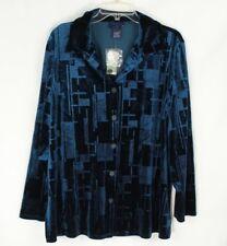 Venezia Women's Geometric Shirt Blue Velour Button Front Top Size 14/16