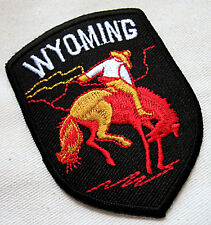 WYOMING RIDER HORSE RODEO Black Embroidered Iron on Patch + Free Shipping