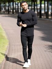 BBH Mens Gym T Shirt Longline Slim Muscle Fit Long Sleeve Plain Top Curved Hem Black M