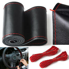 38cm Auto Car Steering Wheel Cover Genuine Soft Leather Anti-Slip Needle Thread