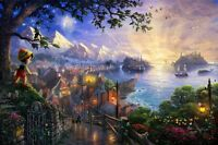 Thomas Kinkade DISNEY PINOCCHIO Limited Edition 18x27 Canvas SIGNED SN 48/995