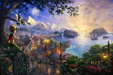 Thomas Kinkade DISNEY PINOCCHIO Limited Edition 18x27 Canvas SIGNED 47/995 SN