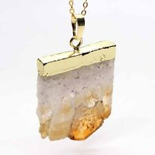 Yellow Gold Plated Natural Citrine Quartz Crystal Stone Pendant Chain Necklace