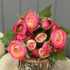 Pretty Artificial Mixed Pink Ranunculus tied Posy, Bouquet, Bunch Wedding ~Home