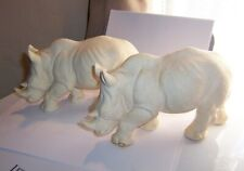 vtg A Giannelli Signed r Sculpture pair White Rhinoceros rhino Animal Figure