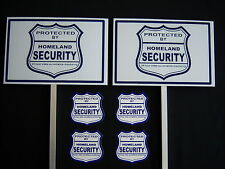 2 HOMELAND SECURITY SIGNS + 4 DECALS  - 2 STAKES ..#PS-410