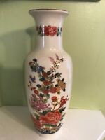 "Vintage Japanese multi color floral hand painted 11"" Vase signed"