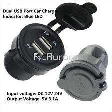 Dual USB Port Car Charger Power Adapter Splitter Cigarette Lighter Socket 12-24V