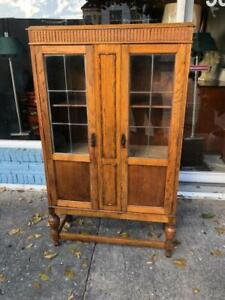 1920 Golden Oak Leaded Door Bookcase Made in England ( Cabinet )