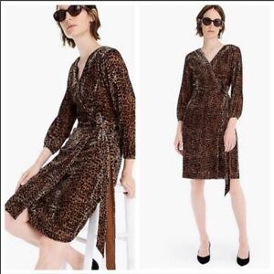 J. Crew Velvet Wrap Dress In Leopard Size 00 NWT