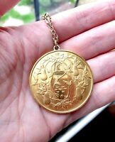 Vintage 1970s Gold Plated Sterling Silver True Love Pendant - 12 Days Christmas