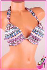NWT Victoria's Secret Swim Bikini Top The Tease Halter Push Up Zig Zag 34DD
