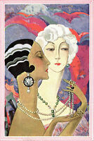 PRINT PAINTING  ART VINTAGE  DECO FASHION MODEL poster for glass framing