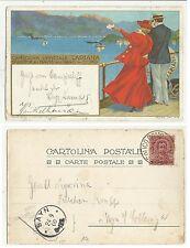 CARTOLINA UFFICIALE SOCIETA NAVIGAZIONE SUL LAGO DI COMO LARIANA CHIATTONE 1900