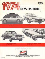 VINTAGE AD SHEET #1880 - LINDBERG MODEL LINE 1974 CAR KITS