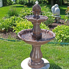 "Sunnydaze 2-Tier Curved Plinth Outdoor Water Fountain 38"" Garden Patio Feature"