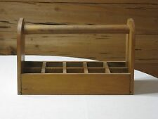 Vintage Hand Crafted Wood Handled Divided Crate/Tote
