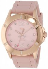 JUICY COUTURE PINK MAUVE SILICONE BAND ROSE GOLD SWAROVSKI CRYSTAL DIAL WATCH