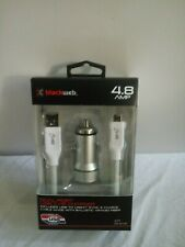 Blackweb 4.8 AMP Dual-Port USB Car Charger USB-C Sync & Charge Cable Silver