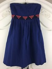 Anthropologie Floreat Fairy Cake Navy Blue Strapless Sweetheart Dress Size 2