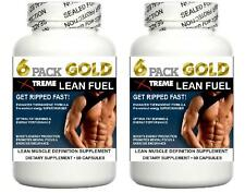 2 Strong Lean Muscle Pills X Growth Builder Abs Fat & Cortisol Loss Workout Aid