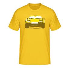 "T-Shirt ""Mazda MX-5 Miata (NA)"", gelb / dreifarbiger Print, vorne"